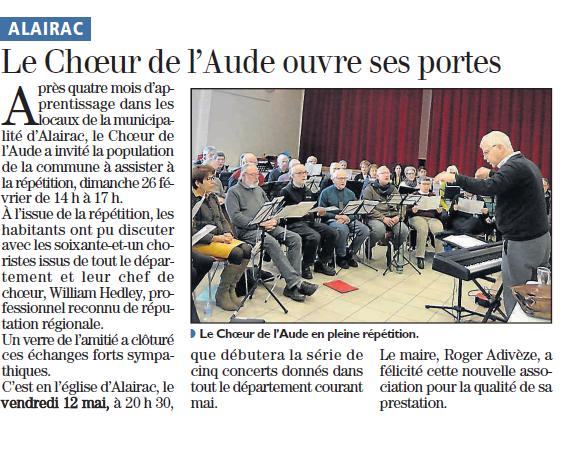Répétition ouverte du Choeur de l'Aude