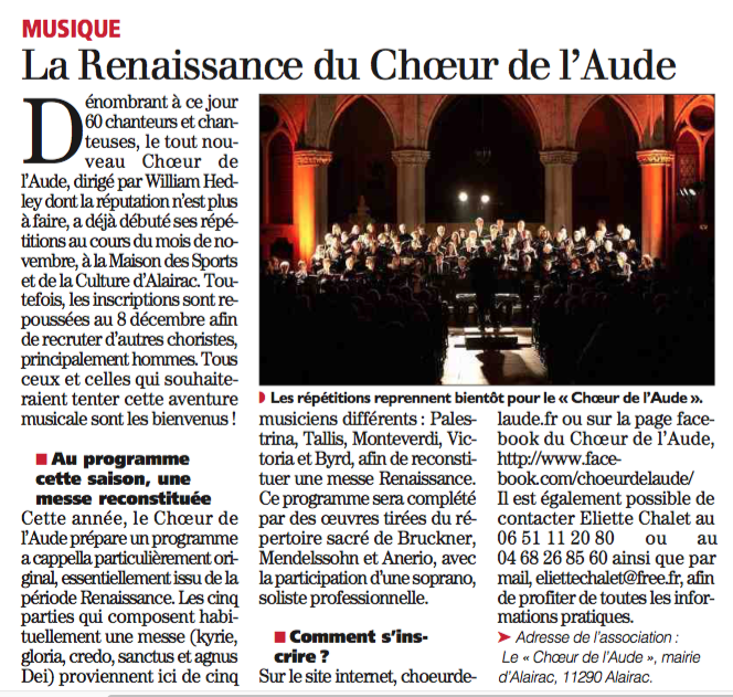 La renaissance du choeur de l'Aude