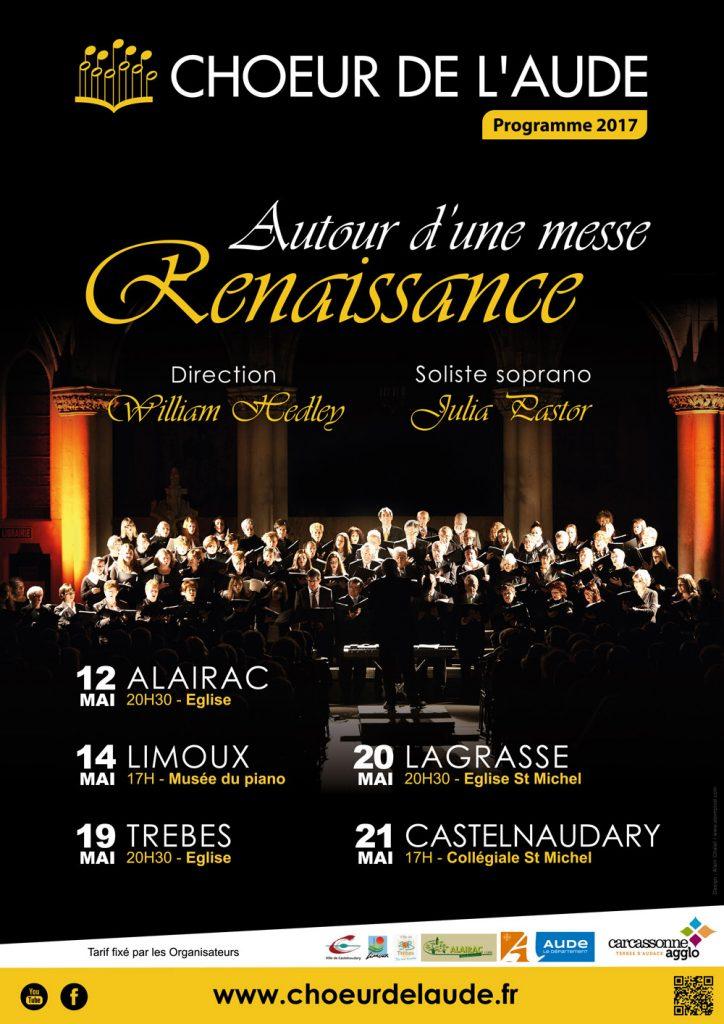 ffiche Choeur de l'Aude concerts 2017